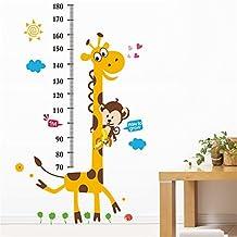 Tabla de medida pegatina de pared niños Carta de crecimiento etiqueta de la pared Medida Pegatinas de pared Dibujos Animados Búho, jirafa, León y mono Vinilo del árbol posters Desmontable para la guardería Decorativo Decoración (Árbol de la jirafa)