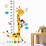 Woneart Giraffe und Affe Größentabelle Wandaufkleber Kinder Wachstum Diagramm Wandtattoo Kunst Wandbilder Messen Wand-Dekor Wohnzimmer Schlafzimmer Kinderzimmer Aufkleber