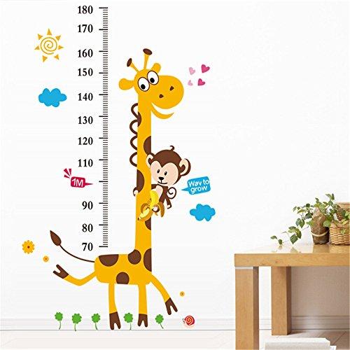 Woneart Giraffe und Affe Größentabelle Wandaufkleber Kinder Wachstum Diagramm Wandtattoo Kunst Wandbilder Messen Wand-Dekor Wohnzimmer Schlafzimmer Kinderzimmer Aufkleber (Kinder Größentabelle)