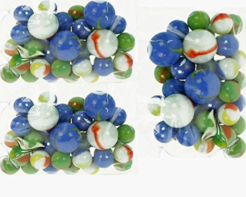 ANGEBOT 132 Stück !! - mehr als 850 g Großes XL MILCHGLAS - Murmelset / Murmelpaket aus Glas in Perlmutoptik mit 120 normalen Milchglas - Murmeln und 12 großen Milchglas - Murmeln - über 850 Gramm bunte Murmeln / Knicker / Schussern / Märbeln / Glasmurmeln / Klickern - Spielzeug für Jung und Alt
