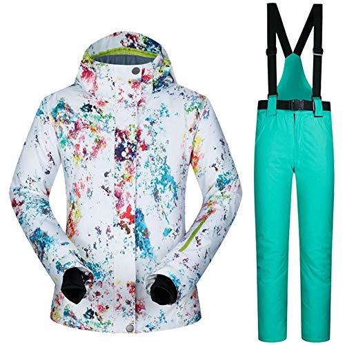 iBaste Schneeanzug Damen Skianzug 2tlg Skijacke mit Kapuze+Skihose Outdoorjacke Damen Regenjacke Hardshell Jacke Wasserdicht atmungsaktiv Funktionsjacke Winddicht,wasserdicht, atmungsaktiv
