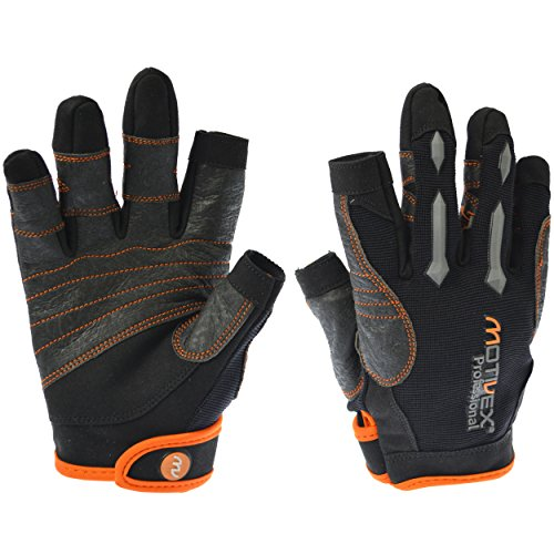 MOTIVEX® Professional Segelhandschuhe schwarz/orange, Größe M