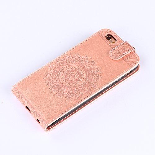 Custodia iPhone 6S / 6, iPhone 6S / 6 Cover, ikasus® iPhone 6S / 6 Custodia Cover [PU Leather] [Shock-Absorption] Protettiva Portafoglio Cover Custodia sole indiano Datura fiori Modello con Super Sott Oro rosa