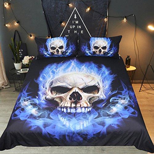 kopf Fire Bettbezug Set 3pcs Skelett Betten Tribal Betten-Set schwarz und blau Ghost Bett-Set, Blue Flames, King Size ()