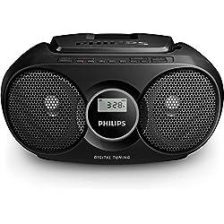 Philips Audio - AZ215B/12 Lecteur CD (Dynamic Bass Boost, Tuner Numérique FM, 3 Watts, Entrée Audio) Noir