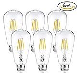 LEDGLE E27 ST64 Vintage Edison LED Glühbirne dimmbar superhell 6W=60W E27 Filament Fadenlampe für Hängeleuchten Wandleuchten Tischlampen Warmweiß 2700K 360 ° Abstrahlwinkel 6er-Pack