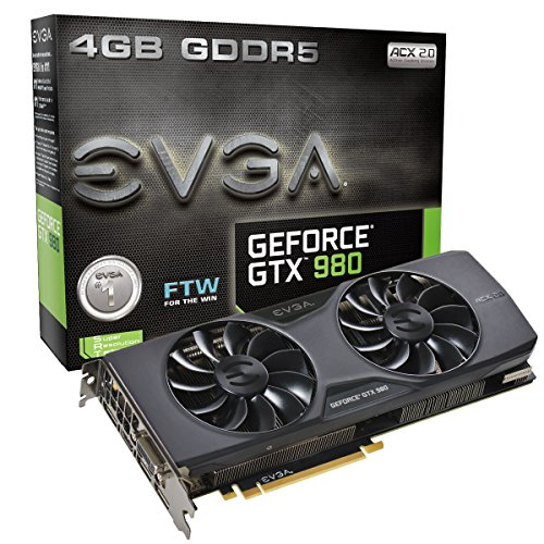 EVGA 04G-P4-2986-KR NVIDIA GTX980 FTW ACX 2.0 3,2S Grafikkarte (PCI-e 4096, 4GB GDDR5, VGA, DVI, HDMI, DisplayPort, 1 GPU) -