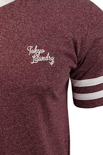 Herren T-Shirt von V-Ausschnitt von Tokyo Laundry kurzärmlig Oxblood