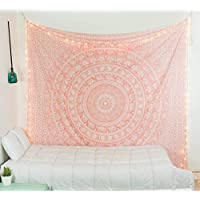 raajsee Metallic Gold Tapestry Wall Hanging Mandala-Bohemian Dorm Decor Hippie Tapestries-Boho Bedding Golden bedspread yoga mat throw