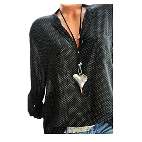 DEELIN Tops Damen Sommer Plus Size Chiffon Blumendruck Langarm Bluse Pullover Tops Shirt ()