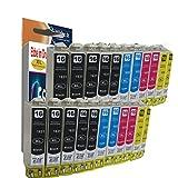 20 XL Multi-Pack Druckerpatronen komp. zu Epson WF2010 WF2510 WF2520 WF2530 WF2540 WF2650 WF2660 W WF DWF Sie bekommen 8 x Schwarz 4 x Blau 4 x Rot 4 x Gelb Ersatz zu Epson T1636 T1631 T1632 T1633 T1634