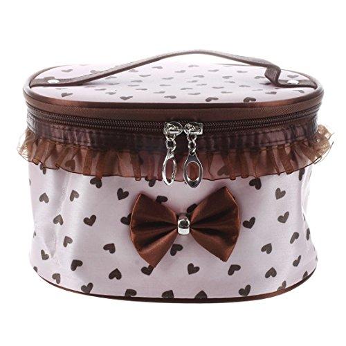 SODIAL(R) Donne Cosmetic Bag Makeup di trucco compongono il contenitore di organizzazione di immagazzinaggio Caso di bellezza-rosso + cuore nero Rosa rosa&marrone Cuore