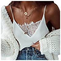 Sunbona Bralette Women'ss Tank Top Ladies Lace Sexy Vest Fashion Camisole Sleeveless T-Shirt Bra Tops (L, White)