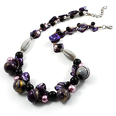 Collier Grappe Perles Coquillage, Bois & Perle Violet