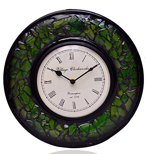 Purpledip Wall Clock 'Green Magic'' - Mosaic of Glistening Green Crystal Pieces set in Wood Frame for a Magical Effect | Size: 1212 inches (10555)