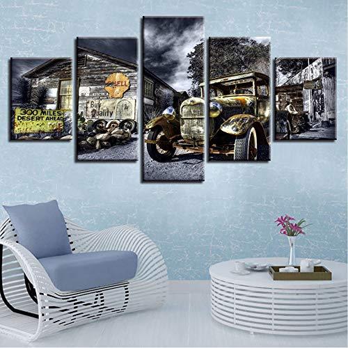 xzfddn Leinwand Poster Wandkunst Gedruckt 5 Stücke Antike Hot Rod Oldtimer Gemälde Landschaft Bilder Modulare Wohnzimmer Dekor 30X40/60/80Cm,with Frame