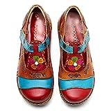 Socofy Chaussures de Ville Femme Fille, Mary Jane en Cuir À Motif Fleurs Talon Compensé Loafters Clogs Sandales Ballerines Printemps Été - Rouge - 40 EU