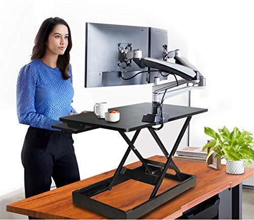 COMNENIR Sit Stand Schreibtisch Schreibtisch Schreibtisch Konverter mit Tastaturablage, Computer-Riser Desktop PC Rack ergonomisch für Home Office - Schwarz (Folding Rack Drucken)