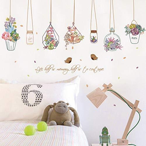 Farbe Pflanze Wandaufkleber Kreative Fleischflasche Hängenden Korb Süßigkeiten Flasche Wandaufkleber Hausgarten Dekoration Diy