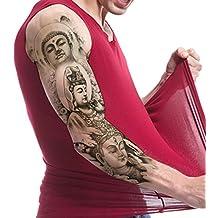 TAFLY Full Arm Temporary Tattoos Extra Large Shakyamuni Cassock Tathagata Bodhisattva Design Waterproof Body Art Transfer Tattoos Sticker Black 2 Sheets