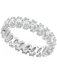Ladies Ring -925 Sterling Silver Marquise Cut ETERNITY Wedding Engagement Band Ring