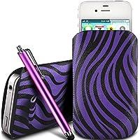 N4U Online - Acer Liquid E3 Schutz PU-Leder Zebra-Entwurf Zuglasche Cord Schlupf in Hülle Tasche mit Schnellspanner & Large Stylus Pen - Lila