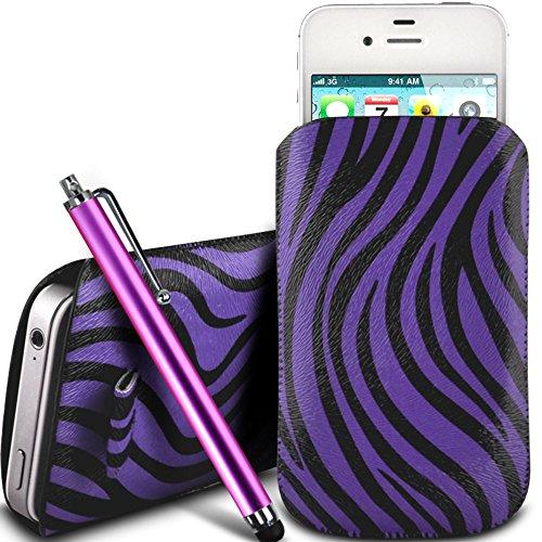 N4U Online - Nokia Lumia 920 PU Leder Schutz Zebra-Entwurf Zuglasche Cord Schlupf in Hülle Tasche mit Schnellspanner & Large Stylus Pen - Lila