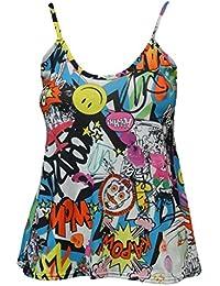 Mujer Impreso sin mangas riemchen Swing Cami Chaleco LÄSSIG Tanktop trägershirt 34–48