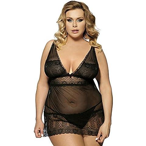 frauen plus size sexy dessous tiefen v - kragen - schleuder nachthemd verführung pyjama , D , 3xl (Seemann-mädchen-kostüm-plus Size)