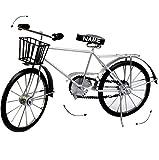 XXL großes -  Fahrrad / Bike - E-Bike - mit Korb - schwarz / Silber  - incl. Name - 48 cm - aus Metall - Dekofahrrad groß - Innen & Außen - Garten - für Kin..