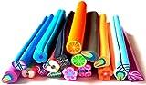 dojore 20Stück Polymer Clay Fimo 3D Nagel Kunst und Scrapbook Zuckerstangen. 5cm lang. 4mm–5mm Durchmesser. zufällige Farben & Designs inkl. Tiere, Früchte, Blumen und Blätter.