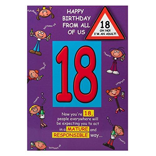 Hallmark Geburtstagskarte 18th Jokebox Badge Grußkarte zum Geburtstag Humor - Medium