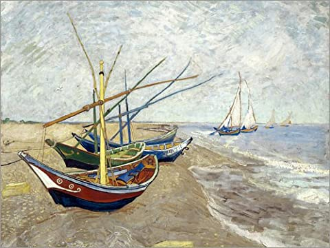 Leinwandbild 40 x 30 cm: Fischerboote am Strand von Les Saintes-Marie-de-la-Mer von Vincent van Gogh - fertiges Wandbild, Bild auf Keilrahmen, Fertigbild auf echter Leinwand, Leinwanddruck