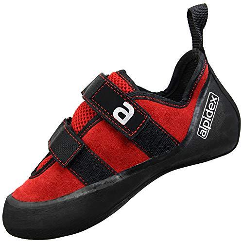 ALPIDEX zapato de escalada de cuero con velcro   ALPIDEX el zapato de escalada es nuestra última innovación. Este zapato inflamará la fascinación de cada escalador al escalar una montaña, roca o incluso en el interior. La zapatilla de escalada ALP...