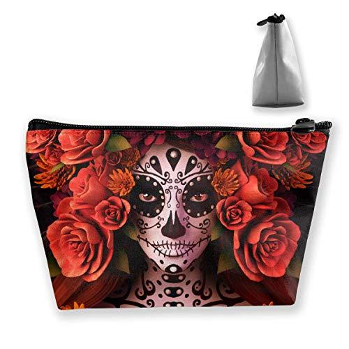 Sugar Skulls And Roses Day Of Dead Halloween Portable Travel Makeup Bags Pencil Case Handbag Organizers With Zipper