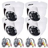KKmoon 4 * 1080p 2000TVL AHD IR CCTV caméra + 4 * 60ft Surveillance câble Support infrarouge nuit Vision 6pcs tableau lampes infrarouges 1/2,9 '' CMOS pour la sécurité à la maison