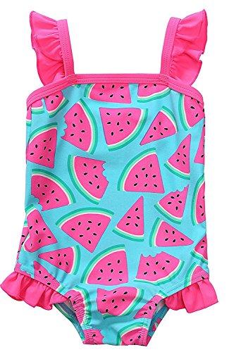 Attraco Baby Schwimmanzug Mädchen Einteiler Baby Badeanzug Rosa Badebekleidung Baby Wassermelone 6-12 Monate