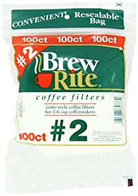 Brew Rite #2 Cone Coffee Filters, White Paper, 100-Count Bags (Pack of 8)