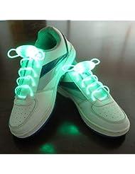 Paire de Lacets Lumineux Clignotants et Equipés de LED de Couleur Verte