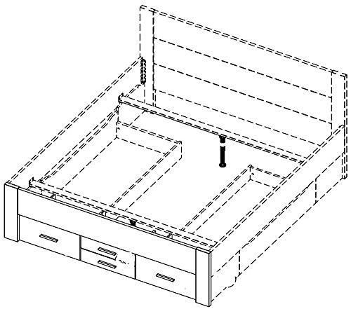 Rauch AL619.022W Bett 180×200 cm Isotta / B 185 H 96 T 208 cm / Korpus/Front: Eiche Sonoma