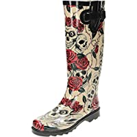 JWF Skull Roses Wellington Wellies Goth Flat Boots, Cream, 7 UK