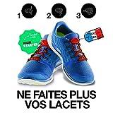 LoopStop le lacet compatible pour toutes les chaussures - lacets élastiques pour le sport, basket, sneakers, chaussures de ville et ajustable pour l'enfant et l'adulte. Couleur Rouge