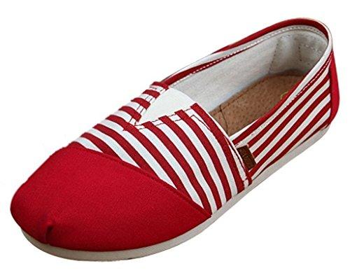 Minetom Donne Ragazze Estate Scarpe Tallone Piano Mocassino Pantofole Loafer Scarpe Strisce Modello Rosso 36