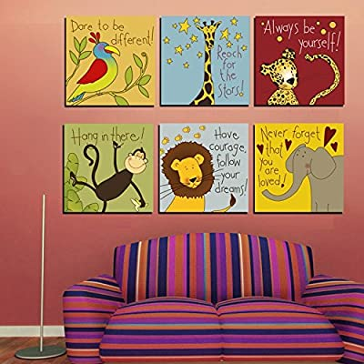 Lovely 6 Piece Cartoon Animal Canvas Painting Prints Poster Home Room Decor Wall Pictures For Kids Bedroom Decoration Walls No Frame - cheap UK light store.