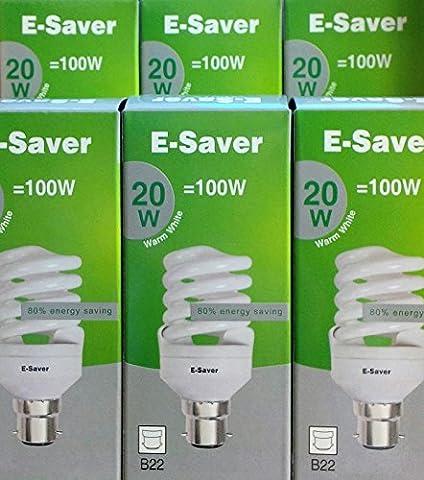 E-Saver - Lot de 3/5/6/10 ampoules spirales - Culot à baïonnette - BC B22d 20W = 100W - Blanc chaud, blanc chaud, B22d 20.00 wattsW 240.00 voltsV