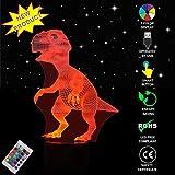 Luz de la noche 3D LED lámpara Ilusión óptica 3D Deco 7 colores cambian con control remoto, Mesa Lámparas de escritorio Touch Switch Great Gifts, regalo de Navidad [Clase de eficiencia energética A+] (dinosaurio)