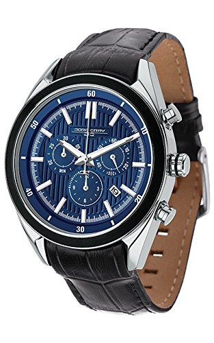 Jorg Gray Orologio al Quarzo da Uomo con Quadrante Blu Cronografo e Cinturino in pelle nero JG6900–22