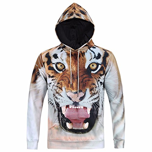 Men's Funny 3D Tiger Slim Fit Pullovers Casual Hoodies AntiqueWhite