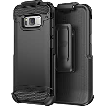 Galaxy S8 Plus Belt Clip Case (S8+) (Scorpio Series R7) Premium Tough Protection w/ Secure fit Holster - By Encased (Samsung S8+) (Smooth Black)