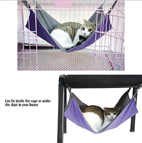 ZHJZ Hundekühlmatte Katze Haustier Käfig Hängematte, Pet Hängebett Atmungsaktiv Mesh 2 in 1 Sommer & WinterHammock Bett Matte für Frettchen Katze Kleines Tier. (L, Lila)